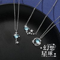Pendant Necklaces Trendy Fashion Temperament Blue Glass Planet Necklace Dreamy Starry Sky Small Fresh Clavicle Chain For Women