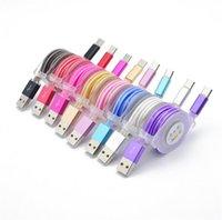 유형 C 수납 식 LED 조명 플랫 국수 마이크로 USB 케이블 타입 C 삼성 스마트 폰 다채로운 유연한 충전 케이블