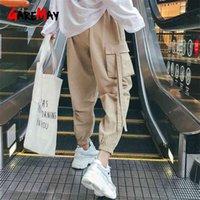 Kaki High Waist Cargo Pants Women Camo Joggers Loose Sweatpants Korean Hip Hop For Casual Streetwear Black Trousers 210607