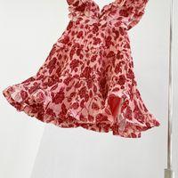 2021 Новый летний V-образным вырезом Маленькая свежая супер фея французское сладостное цветочное платье талии на плечо юбка