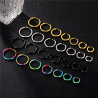 Fashion Women Simple Round Circle Small Ear Stud Earring Punk Hip-hop Stainless Steel Earrings Jewelry
