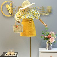 Children Clothing Sets Girls Outfits Baby Clothes Kids Suits Summer Short Sleeve Chiffon Flower Tops Blouses Skirt Sweet 2Pcs B6189