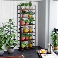 Vrijstaande Plant Bloem Stand Rack Industriële boekenkast 6-Tier Boeken Display Plank met Metalen Frame, Multipurpose Utility Organizer voor thuiskantoor