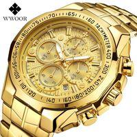 WWOOR Hohe Qualität Sieben Nadel Mann Bewegung Abschnitt Stahl Bring Quarz Wasserdichte Armbanduhr Chronograph Uhren Großhändler Armbanduhren