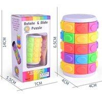 3D Gire Slide Puzzle Tower Magic Cubes Tower Torre deslizante Juguetes Cilindro Inteligencia Educativa Juego Mental para niños Niños