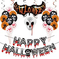 Halloween Balloon Spoof Tricky Skull Party Decoration Horror Bloody Pattern Aluminum Foil Balloons Sets