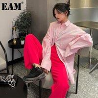Kadın Bluzlar Gömlek [EAM] Kadınlar Pembe Renk Büyük Boy Uzun Bluz Yaka Kollu Gevşek Fit Gömlek Moda Gelgit İlkbahar Yaz 2021 1de0127