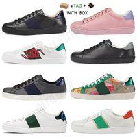 2021 Menos de la mejor calidad Hombres Mujeres Casual Ace Shoes Shoes Designer Calidad de Lujo Snake Bee Bee Shoes Vintage Star Stripe Snake Sneaker