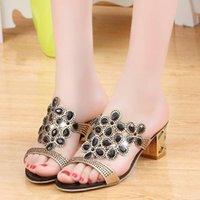 Sandals Summer 2021 Shoes Women Slippers High Heels Luxury Rhinestone Women's With Diamond-studded Chunky