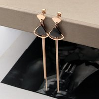 Dangle Chandelier moda donna orecchini a forma di ventola a forma di nero rosa oro serpente catena di osso nappa per le donne gioielli all'ingrosso