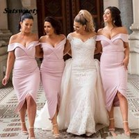 Tea Length Mermaid Bridesmaid Dresses With Off Shoulder Front Split Country Garden Simple Wedding Guest Gowns Blush Pink
