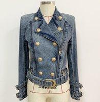 Nuovo stile Top Quality Design originale Giacca da donna in denim con doppio petto Giacca da moto in metallo Cappotto in fibbia in metallo Giacca corta