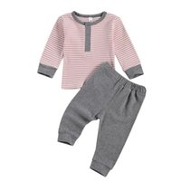 Clothing Sets Baby Boy Girl Clothes Set Long Sleeve Striped Bodysuit And Pants Cotton