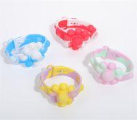 Tie Dye Fidget Bangle Push Bubble Popper Bracelets Sensory Poo Toys Flower Board Kids Rubber Wrist Band Early Education Toy Halloween Ch