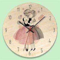 Nouveau bois imprimé en bois Horloge murale Belle fille Reloj de pared Children's Chambre Silencieux Horloge Y200109 744 K2
