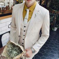 Men's Suits & Blazers 2021 Tailor Made Fashion Color Men Slim Fit Groom Tuxedo For Wedding Beach Party Costume (Jacket+Pants+Vest)