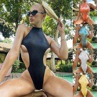High Waist Swimsuit Female Halter Swimwear Women One Piece Swimsuit Sexy Monokini Backless Thong Swimming Suit Shining Beachwear