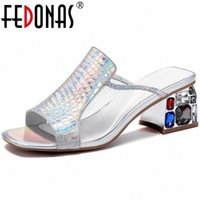 Fedonas Cristal Design Clássico De Couro Genuíno Mulheres Sandálias Famale Nova Chegada Salto alto Bombas Escritório Senhora Sapatos de Verão Mulher 41HT #