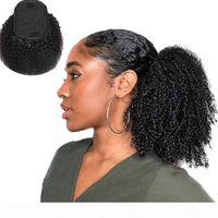 Ponytails 100% İnsan Saç Afro Kinky Kıvırcık Brezilyalı Perulu Malezya Hint 100g Set Başına Saç Uzantıları Yumuşak Kinky Kıvırcık Klip-in Kıllar