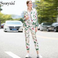 Svoryxiu лилия цветок напечатана осень зима взлетно-посадочная полоса мода два частя набор женщин повседневные брюки движения Twinset женщина 201112