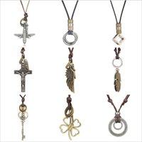 دائرة ريشة الطائرة قلادة القلائد خمر البني الجلود العدل للنساء الرجال مجوهرات قلادة بيان مجوهرات هدية