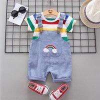 ملابس الصيف الرياضة تي شيرت + السراويل المريلة للأطفال الوليد طفل الفتيان الفتيات ملابس عيد الميلاد الرضع clothi 210309