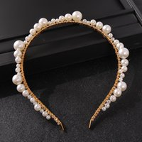 Hair Clips & Barrettes Bridal Jewelry Pearls Lace Headpieces Crown Gold Headbands Tiaras For Bride Women Headdress Party Wedding Accessories