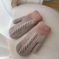 Five Fingers Gloves Winter Women Keep Warm Plus Velvet Inside Thicken Knitting Mittens Full Finger Cycling Woolen Japanese Style Cute Lovely