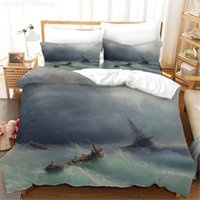 Bedding Sets 3d Printing Ocean Wave Ghost Ship Luxury Duvet Cover Multi-Size Family Comfortable Cotton Pillowcase