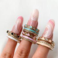 Wedding Rings 2pcs set Elegant CZ Zircon With Enamel Heart For Women Stackable Couple Love Finger Bands Jewelry Gift