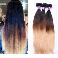 رخيصة البرازيلي الشعر 3 حزم مستقيم أومبير الإنسان نسج الشعر ثلاثة لهجة اللون 1B 4 27 العسل شقراء العذراء البرازيلي الشعر البشري