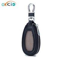 Portefeuilles clés Okkid Véritable porte-cuir Portable Mini sac de voiture Bouton de linylique Organisateur Petit Poche Cadeaux pour hommes Garçon