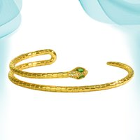 Evil Eye Punk Snake Bangle Women Fashion Charm Luxury Gold Color Natural Stones Couple New Design Cuff Bracelets Jewelry Personalized Elegant Accessory
