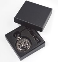 Wholesale 100pcs lot Mix 3Colors Quartz watches Chain Bronze Anime Alchemist Alchemist pocket watches with Gift box PW110