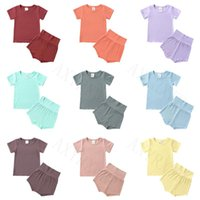 Clothing Sets 2 Pcs Children Summer Casual Knitted Outfits Toddler Kids Boy Girls Short Sleeve Round Neck Pullover T-shirts+High Waist