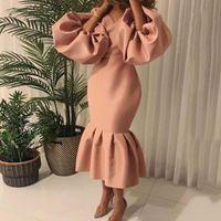 Casual Dresses 2021 Pink Evening Party Long Dress African Women Elegant Formal Puff Sleeve Bodycon Ruffle Mermaid Midi Black Yellow