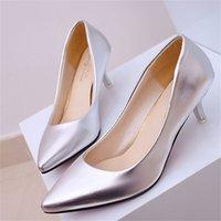 Four Seasons Patent Patent Femmes Talons Femmes Professionnel Femmes Femmes Bouche peu profonde Travaux Noir Blanc Bureau Chaussures 210310
