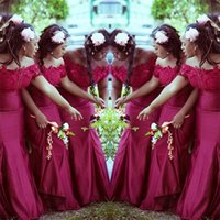 Nigerian Lace Bridesmaid Dresses Long Elegant Off The Shoulder Strapless Mermaid Wedding Party African Maid Of Honor Evening Gowns Plus Size