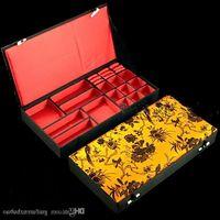 Boutique trä dekorativa smycken set presentförpackning för halsband armband örhängen ring förvaring väska kinesisk silke brocade packaging bo