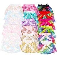 Sommer Süßigkeiten Farben Mädchen Pailletten Shorts Hosen mit Bowknot Baby Mode Infant Glitter Bling Tanz Boutique Bogen Prinzessin Kurz Kinder Kleidung G65FR6V