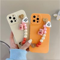 Candy Pure Colour Bear Chain Bracelet Shockproof Phone Cases Matte Soft Silicone Cover For iPhone 13 Pro Max 11 12 X XR Xs 7 8 Plus Mini 13Pro Case Skin Shell