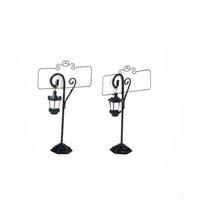 1 stücke Miniaturdekorationen Staffelei Hochzeit Streetlight Tisch Marker Halter Clips Name Fotokarte Stand Tabelle Nummer Platz