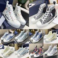 Tasarımcı Rahat Erkekler Ayakkabı Erkek Sneakers B23 Eğik Bayan Yüksek Düşük Üst Teknik Tuval Deri Arı Klasik Lüks Trainer Sneaker