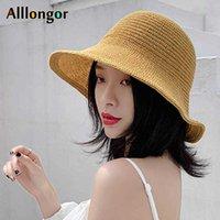 Summer Sun Cap Foldable Wide brim Straw beach hat 2020 Korean Knitted Bucket Hat Women bob chapeau fisherman hat buckethat black G0924