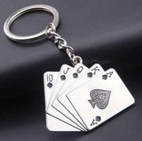 Spel Sleutelhangers voor Mannen Auto Bag Keyring Rvs Sieraden Straight Flush Texas Hold'em Poker Speelkaarten Gift Mode