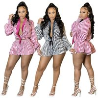 Women's Tracksuits Women Striped Two Piece Set Long Sleeve Blouses And Shorts Suits Street Casual Sweatsuit Outfit