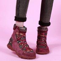 Rimocy 2020 Новый Национальный Ветр Крест Обувь Женщины Смешанный Цвет Смешанные Сапоги на молнии Женские Плюс Размер Квартира с Botas Mujer L4ok #