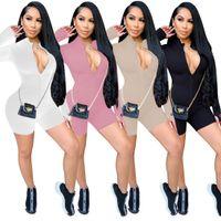 AUTOMNE HIVER TURTLENCALICK CASSAL Jumpsuit Femmes manches longues à manches longues Zipper Sport usure Womens Rompers Fitness Combinaison S-2XL