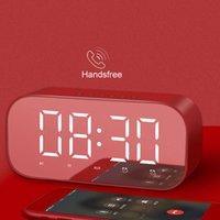 Mini Speaker Wireless Bluetooth Sound box with LED Display Mirror Glass Weather Alarm Clock Hifi TF Card MP3 Music Play