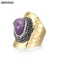 Clusterringe Shinygem Vergoldung Unregelmäßiger natürlicher Amethyst Druzy Fingerring Micro Inlay Rhinestone Übertriebener Kristall für Frauen